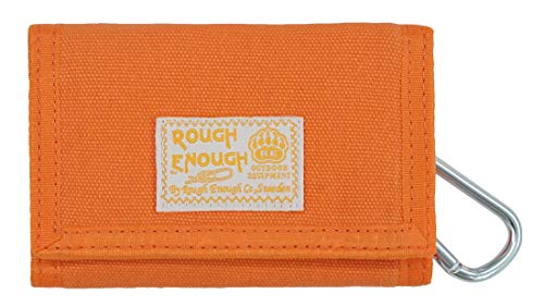 Rough Enough Small Canvas Orange Wallet Coin Purse Pouch Organizer Card Holder with Zipper Pocket and Credit Card slot for Women Kids Teen Boy Girl Candy Fancy Travel