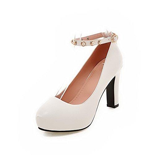 VogueZone009 Damen Hoher Absatz Weiches Material Schnalle Rund Zehe Pumps Schuhe Weiß