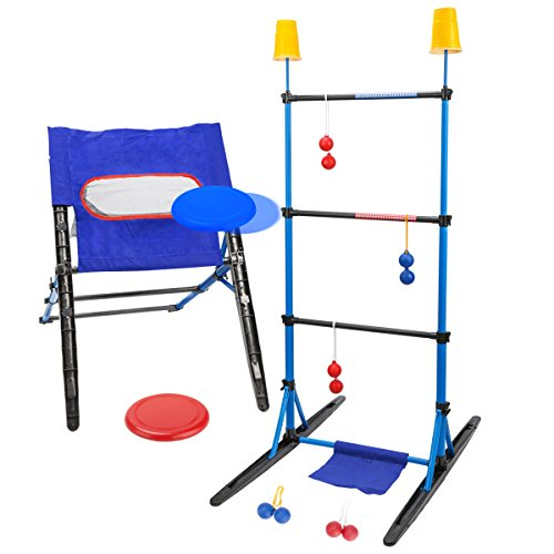 3-IN-1 Outdoor Toss Game Set-Ladder Ball Game,Disc Toss Game,Target Toss Game Perfect For Kids and Adults,Beach, Lawn, Backyard, Camping, Tailgating and Outdoor Play by ROPODA