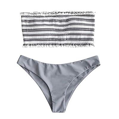 Benficial Women Sexy Bikini Set Stripe Bandeau Top Tong Bottom Swimwear Push-Up Padded Swimsuit Bathing Suit