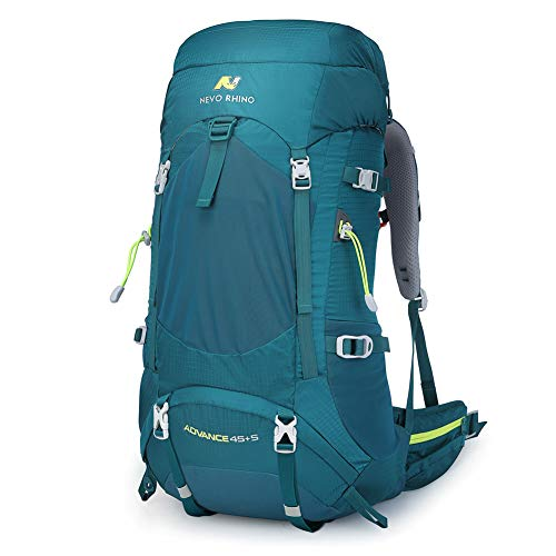 - N NEVO RHINO 45L / 50L Internal Frame Backpack, Durable Nylon Climbing Sports Ultralight Daypack with Whistle Buckle, Rain Cover, High-Performance Backpack for Backpacking, Hiking, Camping, Trekking