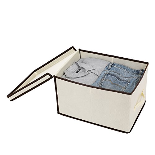 SONGMICS Set of 3 Large Storage Container with Lids Foldable Storage Box with Lids Beige URLB40M by SONGMICS (Image #4)
