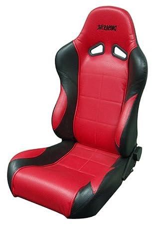 Amazon com: 3A Racing 25-2801 Racing Seat Vinyl Red Black