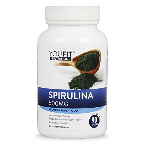 Spirulina Non-GMO Formula, 1500mg, Highest Quality & Sustainably Grown in California without Pesticides, Non-Irradiated & Vegetarian, 500mg per capsule, 30 Day Supply, Made in USA