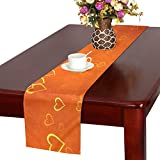 Jnseff Orange Hearts Gold Blurred Table Runner, Kitchen Dining Table Runner 16 X 72 Inch For Dinner Parties, Events, Decor