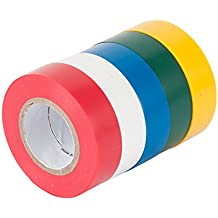 Gardner Bender GTPC-550 Electrical Tape, ½ in x 20 ft, Durable, Easy-Wrap, Flame Retardant, 5 Pk, Red, White, Blue, Green, Yellow