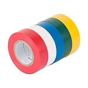 Gardner Bender GTPC-550 General Purpose Electrical Tape, Assorted Colors, Durable, Easy-Wrap PVC Material, Tough 7 Mil Tape, Up to 80 Degrees C, ½ Inch. x 20 Ft., 5 Pk., Red, White, Blue, Green, Yellow
