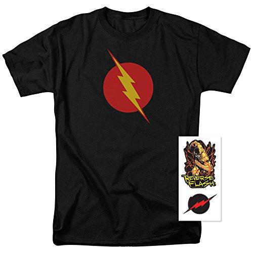 Popfunk Reverse-Flash Logo T Shirt & Exclusive Stickers (Large) (Reverse T-shirt Flash)