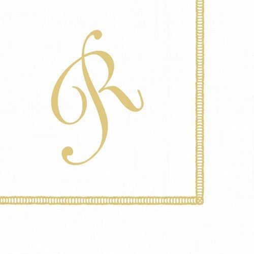 Monogrammed Initials Cocktail Napkins Gold Letter Script 120 Napkins ()