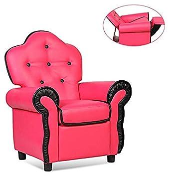 Safeplus Kids Sofa Children Armchair Velvet Riveted Sofa Recliner Chair with High Back