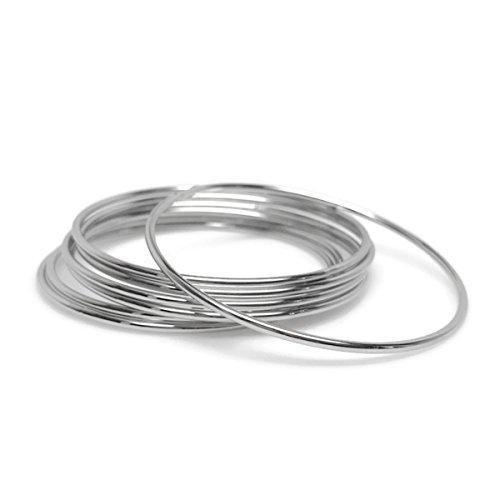 Thin Silver Stainless Steel Bangle Bracelet Set Round (Set of 7)
