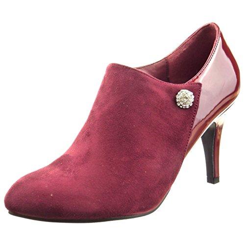 Sopily - Chaussure Mode Bottine Low boots Cheville femmes Bijoux verni Talon haut aiguille 8 CM - Rouge