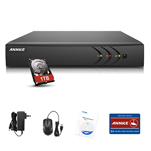 ANNKE 4CH 720P-AHD Standalone H.264 Realtime CCTV Video Surveillance Security network DVR Recorder +1TB Hard Drive, Mobile Phone remote viewing, 1080P HDMI - Mobile Dvr Alone Stand