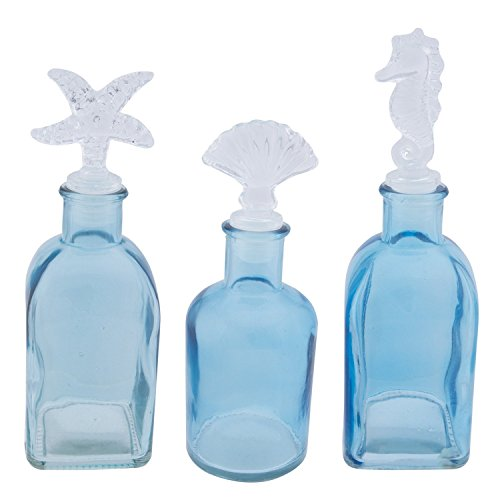 Sea Design Wine Bottle Stopper - 3 Glass Bottles with Sealife Stoppers, Starfish, Seahorse and Shell