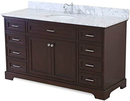 Aria 60-inch Single Bathroom Vanity Carrara Chocolate Includes a Chocolate Cabinet with Soft Close Drawers, Authentic Italian Carrara Marble Countertop, and White Ceramic Sink