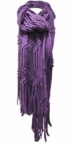Beaded Knit Shawl (Women's 'Scarf' Soft Warm Winter Knit Tassels Scarf,AMETHYST,ONE SIZE)
