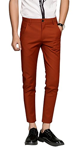 Plaid&Plain Men's Cropped Dress Pants Men's Slim Fit Dress Pants 7603Red (Mens Plaid Coat)