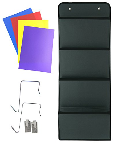 Four Drawer Oxford File (Premium Quality Hanging Wall Organizer, PremierGoods Wall Mount/Over Door Office Supply Storage Mail Organizer For Notebooks, Planners, File Folders - 4 Deep Pocket Closet & Toy Storage)