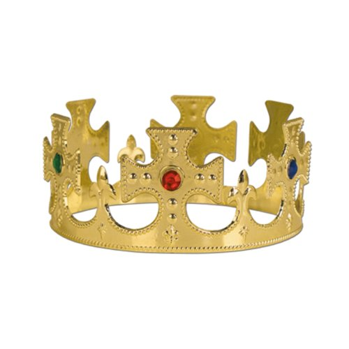 Crown Jeweled Plastic (Beistle 60250-GD 12-Pack Gold Plastic Jeweled King's Crown)