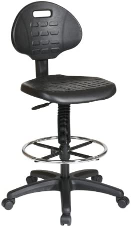 Office Star Urethane Seat and Back Contour Intermediate Drafting Chair with Adjustable Footrest, Black