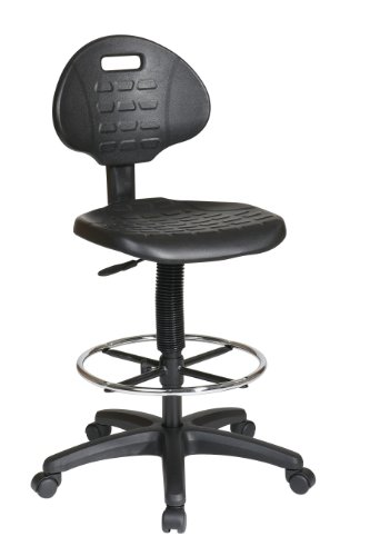 Office Star Urethane Seat and Back Contour Intermediate Drafting Chair with Adjustable Footrest, Black by Office Star