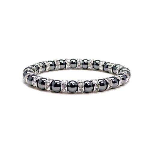 Accents Kingdom Women's Magnetic Hematite Tuchi Simulated Pearl Bracelet with Crystal, -