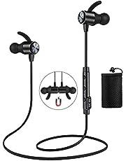 Cuffie Bluetooth ATGOIN 4.1 Auricolare Magnetiche Stereo Wireless per Sport (black)