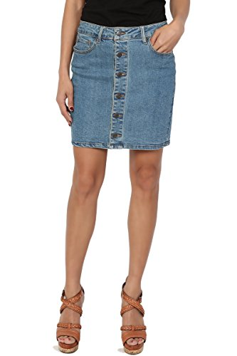 TheMogan Junior's Button Front Straight Short Mini Washed Denim Skirt Medium L
