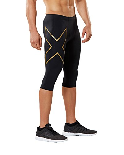 - 2XU Men's 3/4 MCS Thermal Compression Tights, Black/Gold, Medium