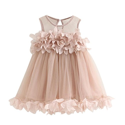 Price comparison product image Girl Dress,Haoricu Baby Girls Cute Princess Sleeveless Petal Dresses For Birthday Party (4T, Pink)