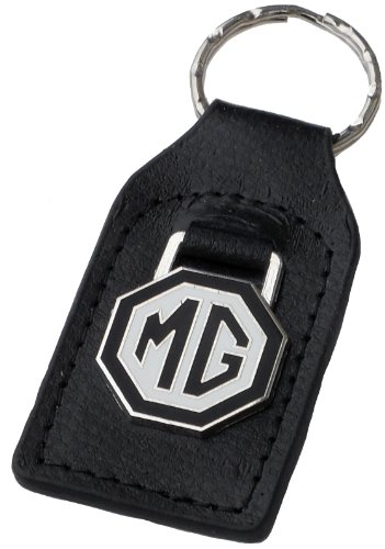 MG (MGB) Black White Leather and Enamel Key Ring Key Fob (Leather Key Auto Ring)