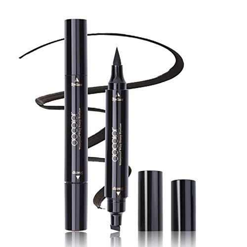 Winged Eyeliner Stamp, Docolor Waterproof Dual Ended Liquid Eye Liner Pen, Long Lasting Eyeliner Pen Black (Best Liquid Eyeliner For Wings)