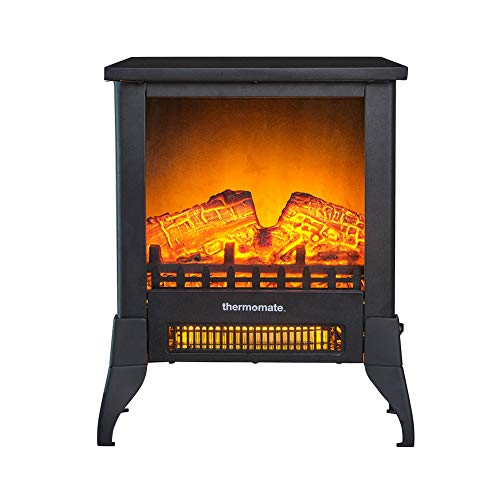 thermomate Electric Fireplace Stove, Portable Freestanding Fireplace with Thermostat, Realistic Flame and Logs Vintage Design for Home and Office, CSA Certified