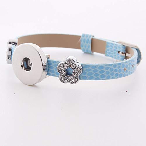 - DIY 1pcs Charm Extendable Leather Bracelet for Noosa Snaps Chunk Button A022