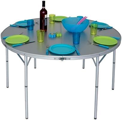 ET - Mesa redonda de jardín o camping (plegable, aluminio, para 6 ...