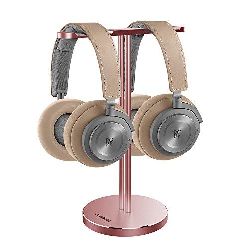 BeoPlay Dual Headphone Stand,Jokitech Aluminum Slim Headphone Stander, Suitable for Beats, Sennheiser, Sony, Audio-Technica, Bose, Shure, AKG, JBL, Logitech, Razer Gaming Headphones and More -RoseGold