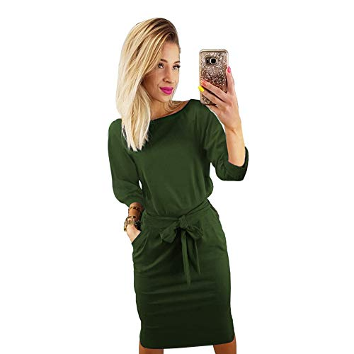 Longwu Women's Elegant Lantern Sleeve Wear to Work Casual Pencil Dress with Belt Army Green-XL