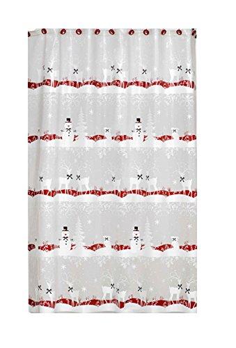 Christmas Reindeer Winter Snowman Vinyl Shower Curtain with Matching Hook Set ()
