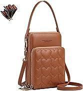Fashion Damen Handtaschen - unisoul Handy Umhängetasche Leder Handytasche 3 Reißverschluss Beutel...