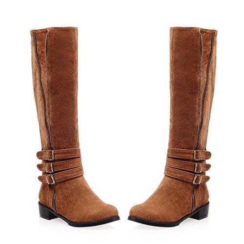 Mujeres Sobre la rodilla botas de muslo nueva moda bajo talón áspero cabeza redonda Scrub hebilla marrón negro rojo otoño invierno fiesta club nocturno Brown