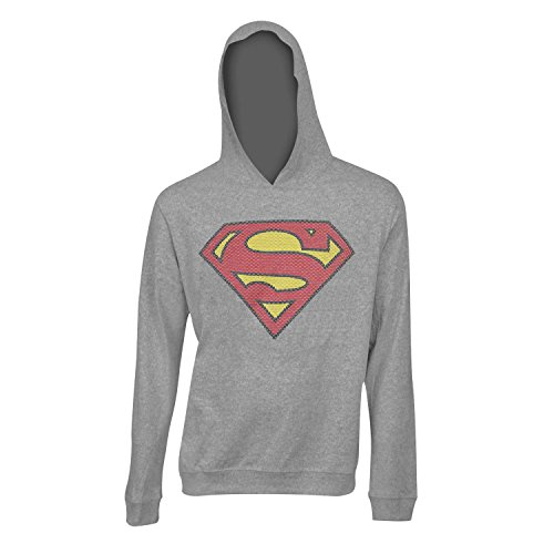Superman Hoodie For Adults (Superman Classic Logo Hoodie, Officially Licensed Long Sleeve Hooded Shirt or  Lightweight Hooded Sweatshirt in Heather Grey)
