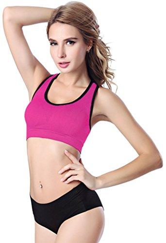 Black Friday FQHOME Womens Rosy Breathable Non Underwire Sports Bra Size L