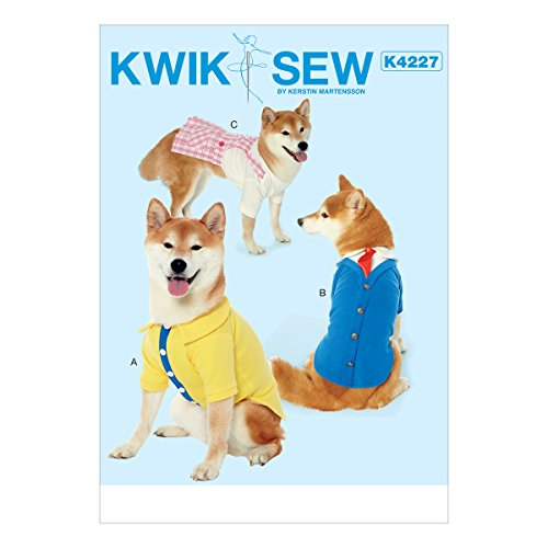 McCall's Patterns K4227OSZ Dog Clothes Sewing Pattern, 3pc (Patterns For Dog Clothes For Small Dogs)