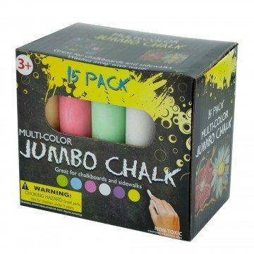 Jumbo Multicolor Outdoor Sidewalk Chalk - 15 Piece Washable Premium Set