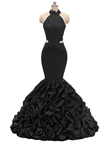 Womens Halter Mermaid Prom Dresses Long 2019 Backless Beaded Formal Evening Gown with Lace Applique Black