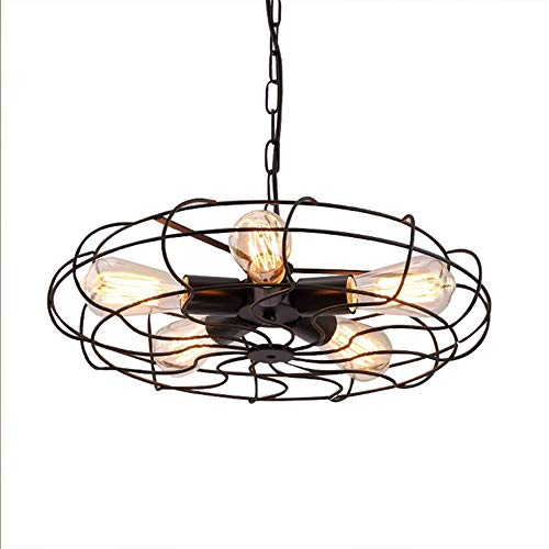 NOBLJX Vintage Industrial Ceiling Lamp Fan Type Semi-Embedded Metal Wire Cage Wrought Iron Chandelier Adjustable Lamp Holder Lighting Fixture with 5 Lights (Excluding Light Bulbs)