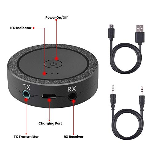 Bluetooth Transmitter and Receiver, 2-in-1aptX Low Latency 3.5mm Bluetooth 4.1 Wireless Stereo Audio Adapter for Home TV, PC, Headphones, Speaker, Car by ACSUN (Image #3)