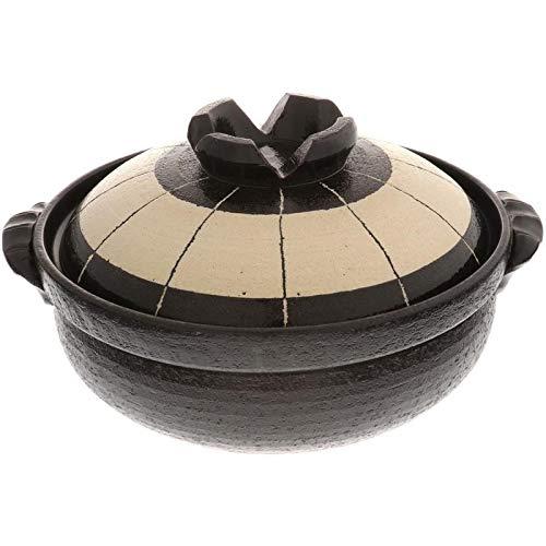 Kotobuki 190-904D Donabe Japanese Hot Pot :Blk/Wht Circle Spoke