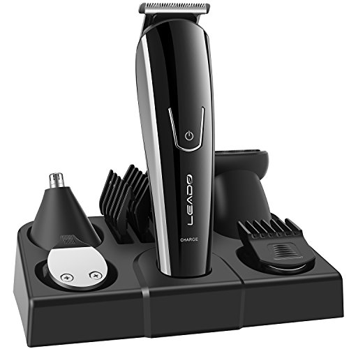 LEADO All-In-1 Men's Grooming Kit Rechargeable Beard & Head Trimmers with Hair Clippers Precision Trimmer Nose & Ear Hair Trimmer Multigroom Electric Shaver Razor for Men