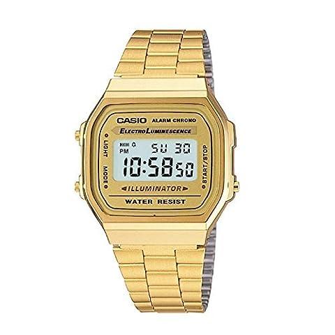 Casio A168WG-9 Men's Vintage Gold Metal Band Illuminator Chronograph Alarm Watch (Gold Tone Metal Watch)
